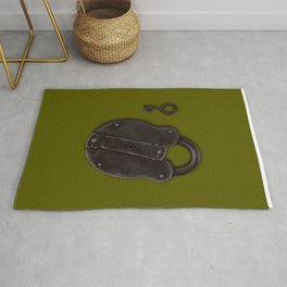 Padlock and Key on Olive Rug