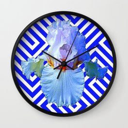 MODERN BLUE & WHITE ART DECO PATTERN IRIS Wall Clock