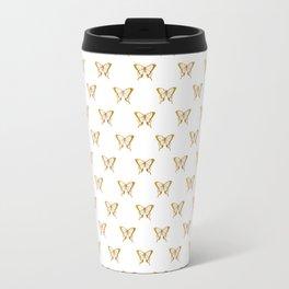 Metallic Gold Foil Butterflies on White Travel Mug