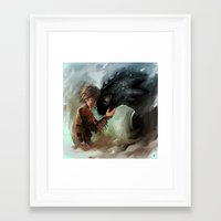 hiccup Framed Art Prints featuring hiccup & toothless by AkiMao