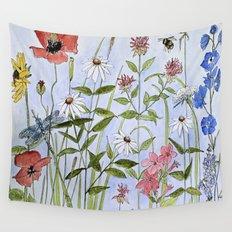 Botanical Garden Flower Wildflower Watercolor Wall Tapestry