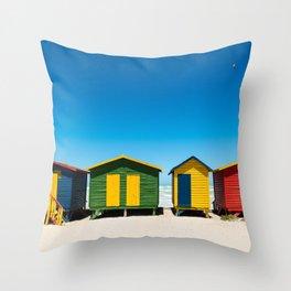 Hightech beach huts Throw Pillow