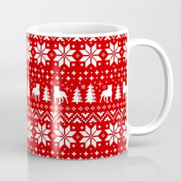 Staffordshire Bull Terrier Silhouettes Christmas Holiday Pattern Coffee Mug