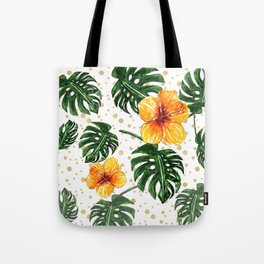 Tropical Leaves Hibiscus on a Gold Sand Background Tote Bag