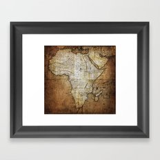 Vintage Africa Map Framed Art Print