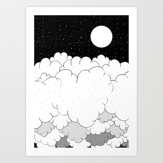 The moon and the clouds Art Print