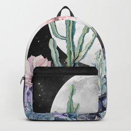 Desert Cactus Full Moon Succulent Garden Night Sky Backpack