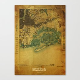 Brooklin 1898 vintage map, usa old vintage maps Canvas Print