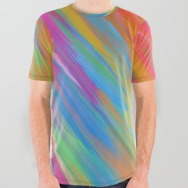 Color Overload Painting / Watercolor Hand Painted Tie-Dye Effect Gradient / Orange Yellow Blue Pink All Over Graphic Tee