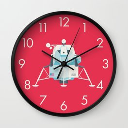 Apollo 11 Lunar Lander Module - Plain Crimson Wall Clock