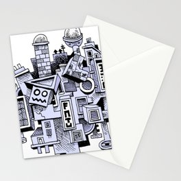Jumbled City full of assorted junnk Stationery Cards