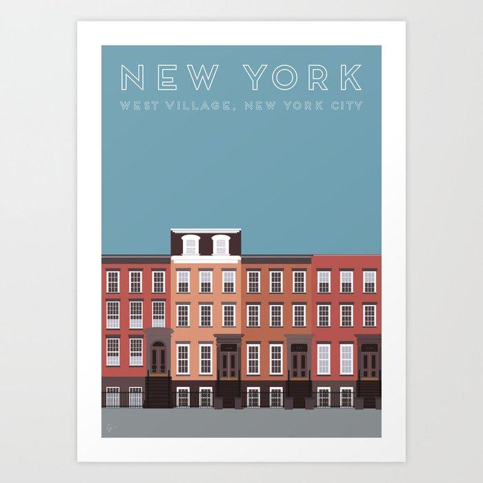 West Village, New York, NYC Travel Poster Art Print