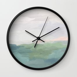 Seafoam Green Mint Black Blush Pink Abstract Nature Land Art Painting Art Print II Wall Clock
