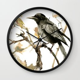 Crow in the Fall, Tribal Crow Raven art Wall Clock