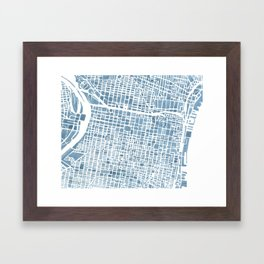 Philadelphia City Map Framed Art Print