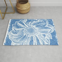 White Flower On Denim Blue Crayon Rug