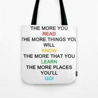 quotes Tote Bags featuring quotes by kawaiicookie