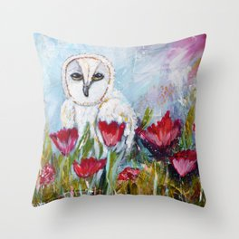 Owl in Poppies Throw Pillow