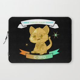 """I beg your paw-don!?!"" C-3PO kitten Laptop Sleeve"
