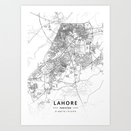 Lahore, Pakistan - Light Map Art Print