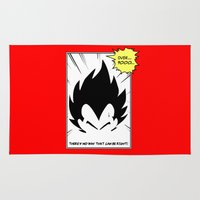 dragonball z Area & Throw Rugs featuring IT'S OVER 9000 (Dragonball, Vegeta)  by SOULTHROW