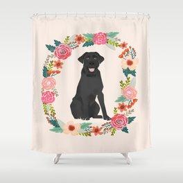 black lab floral wreath flowers dog breed gifts labrador retriever Shower Curtain