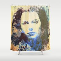 hedwig Shower Curtains featuring Divas - Hedy Lamarr  by Fernando Vieira
