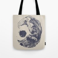 waves Tote Bags featuring Swell by Huebucket