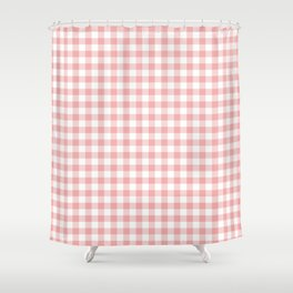 Lush Blush Pink and White Gingham Check Shower Curtain