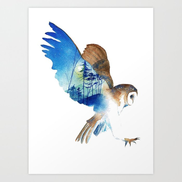 Flying night cute owl Art Print