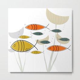 Mid Century Modern Fish, Marine Life Metal Print