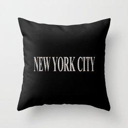 New York City (type in type on black) Throw Pillow