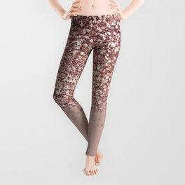 Glam Rose Gold Pink Glitter Gradient Sparkles Leggings