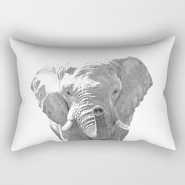 Black and white elephant illustration Rectangular Pillow