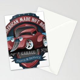 American Hot Rods Garage Vintage Car Sign Cartoon Stationery Cards