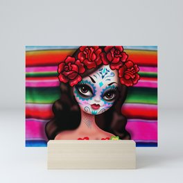 Dia De Los Muertos Girl on Sarape Mini Art Print