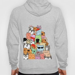 Cute Cats and Dogs Doodle Hoody