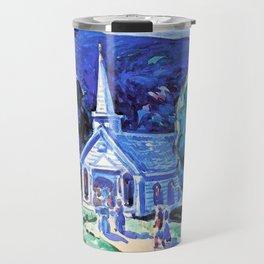 12,000pixel-500dpi - George Benjamin Luks - Church, Old Chatham Berk. Hills - Digital Remaster Travel Mug