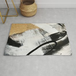 Armor [9]: a minimal abstract piece in black white and gold by Alyssa Hamilton Art Rug