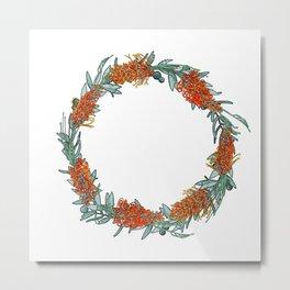 Australian Native Flower Wreath Metal Print