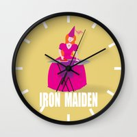 iron maiden Wall Clocks featuring IRON MAIDEN by mangulica illustrations