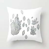 crystals Throw Pillows featuring Crystals by Sushibird