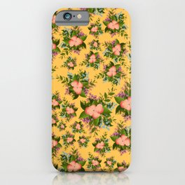 Watercolor Flowers on Yellow Background iPhone Case