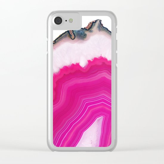 Pink Agate Slice Clear iPhone Case