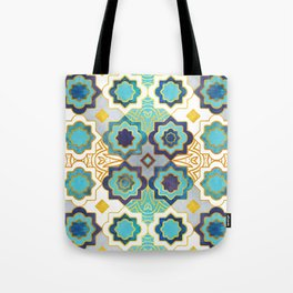 Marrakesh gold and blue geometry inspiration Tote Bag