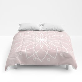 Mandala on Pink Watercolor Background Comforters