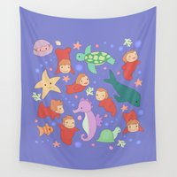 sisters Wall Tapestries featuring Ponyo's Sisters  by Carly Watts