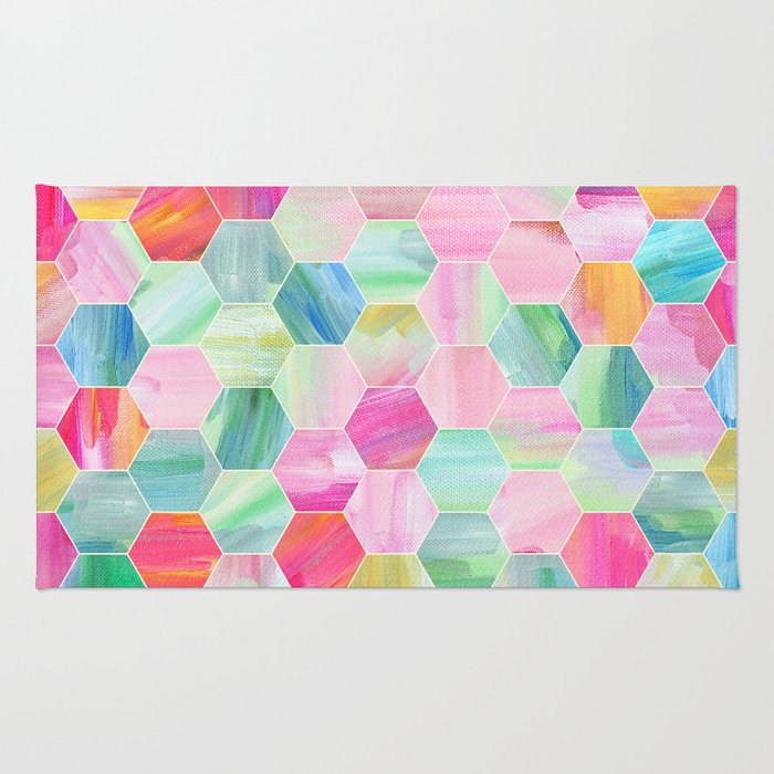 Pretty Pastel Hexagon Pattern in Oil Paint Rug