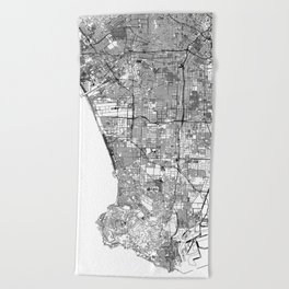 Los Angeles White Map Beach Towel
