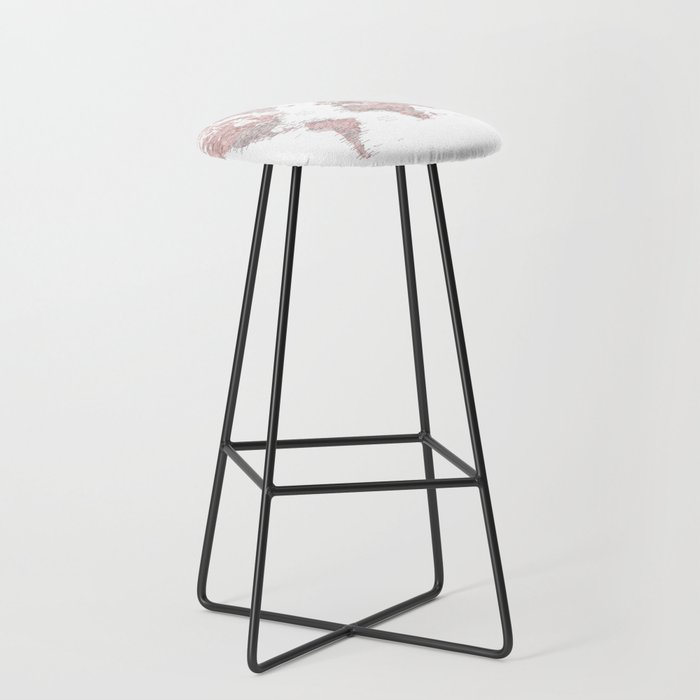 Dusty pink and grey detailed watercolor world map Bar Stool